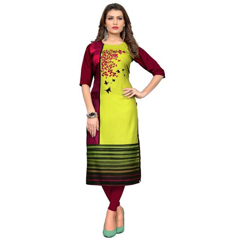 Groovy Maroon - Lemon Green Colored Casual Wear Printed Crepe Kurti