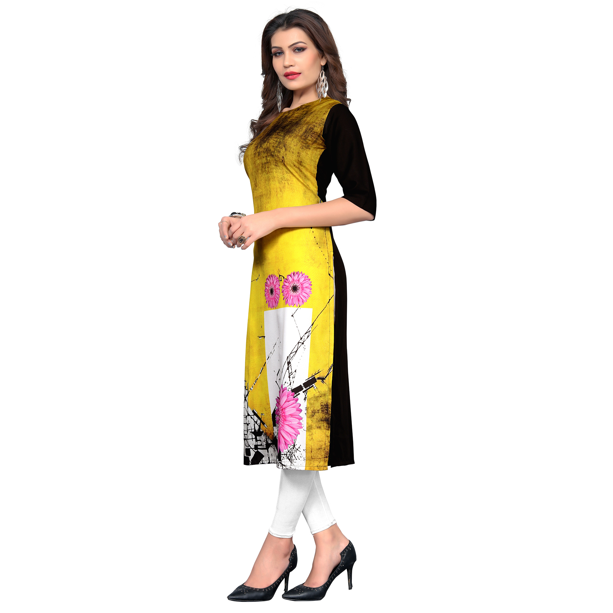 Prominent Yellow Colored Casual Wear Printed Crepe Kurti
