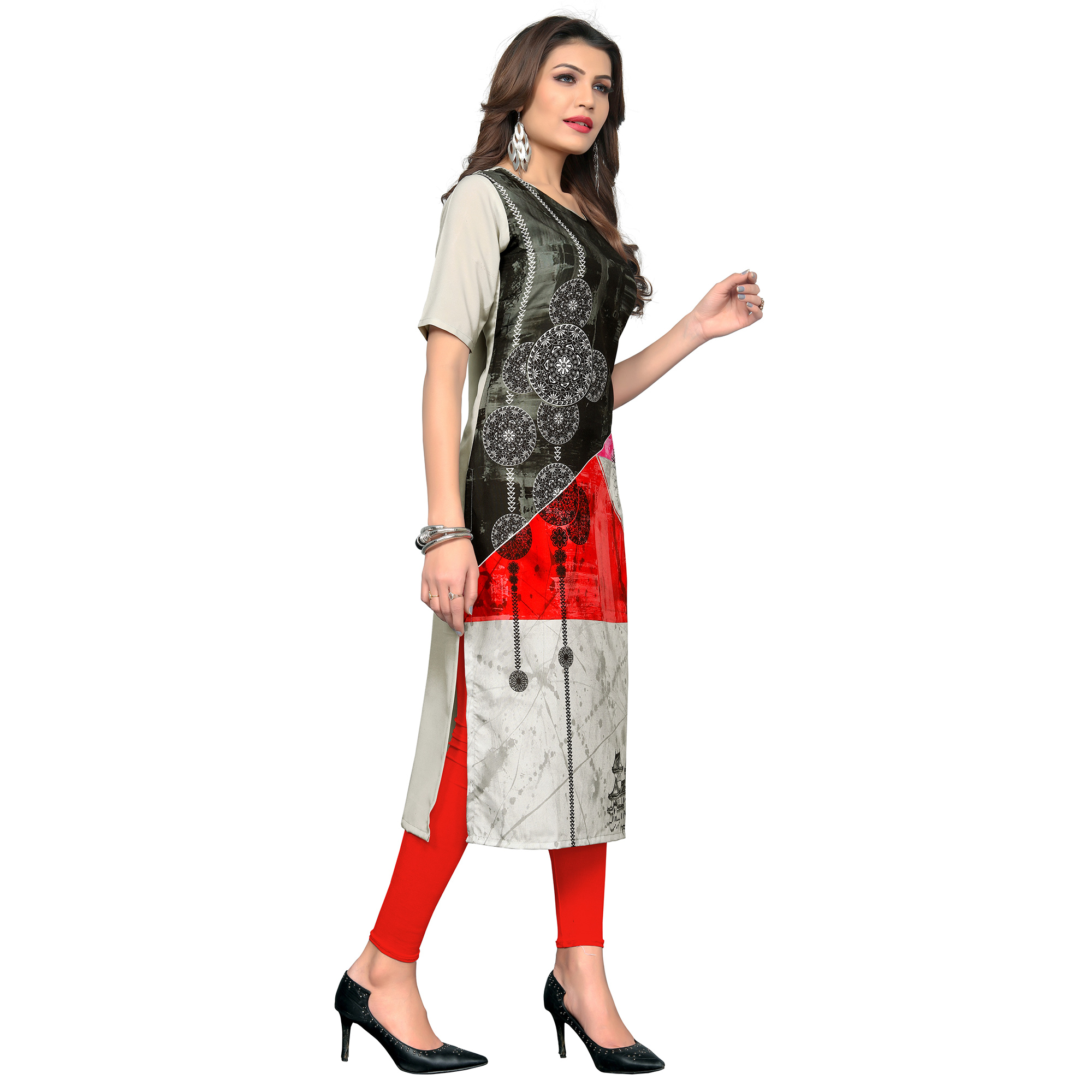 Exotic Multi Colored Casual Wear Printed Crepe Kurti
