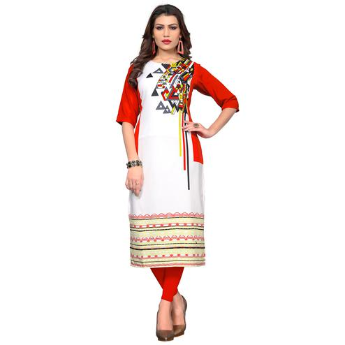 Pleasant White Colored Casual Wear Printed Crepe Kurti
