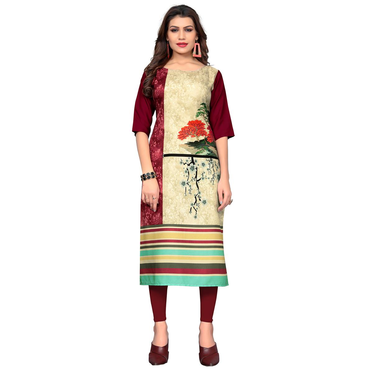 Opulent Beige - Maroon Colored Casual Wear Printed Crepe Kurti