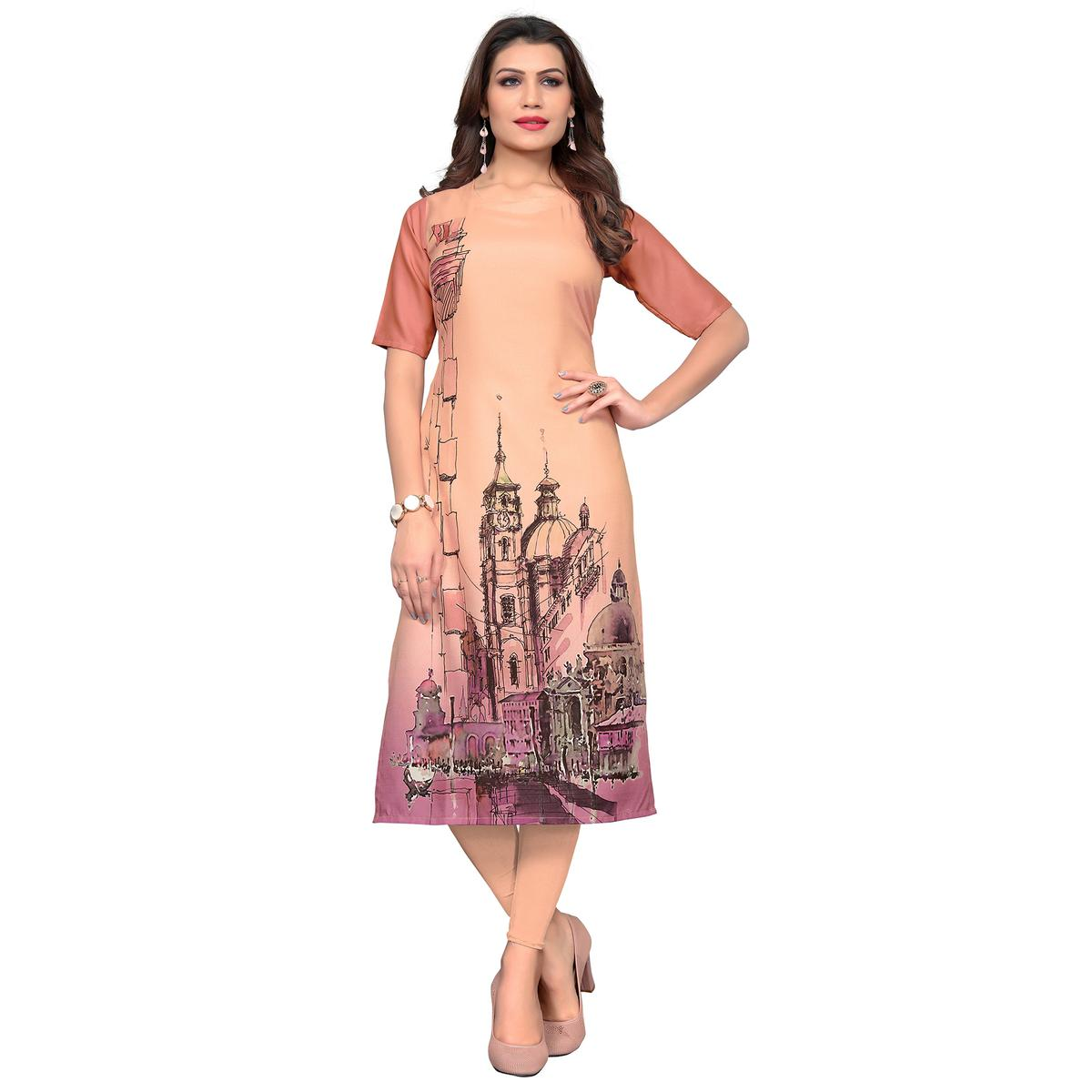 Glowing Peach Colored Casual Wear Printed Crepe Kurti