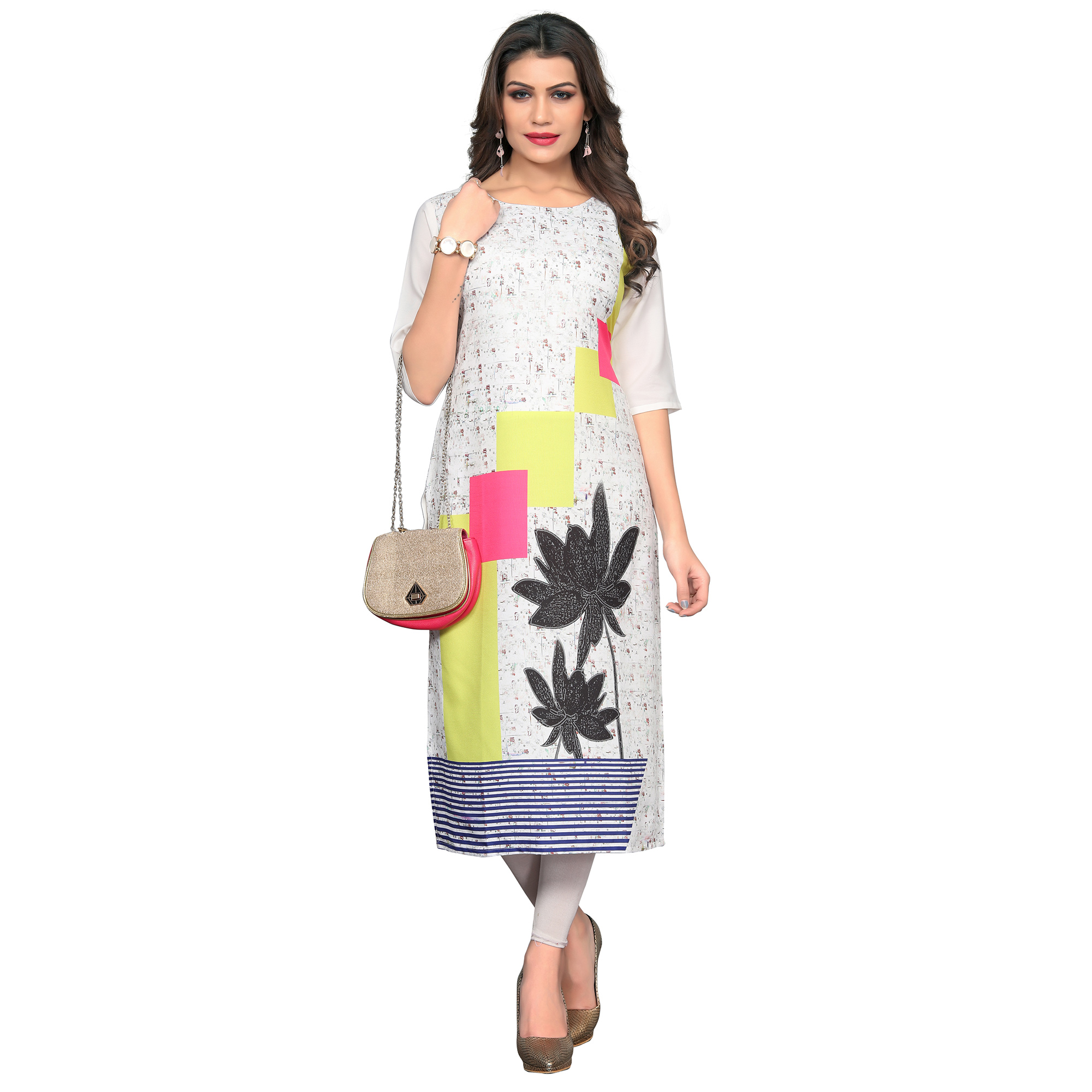 Exceptional White Colored Casual Wear Printed Crepe Kurti