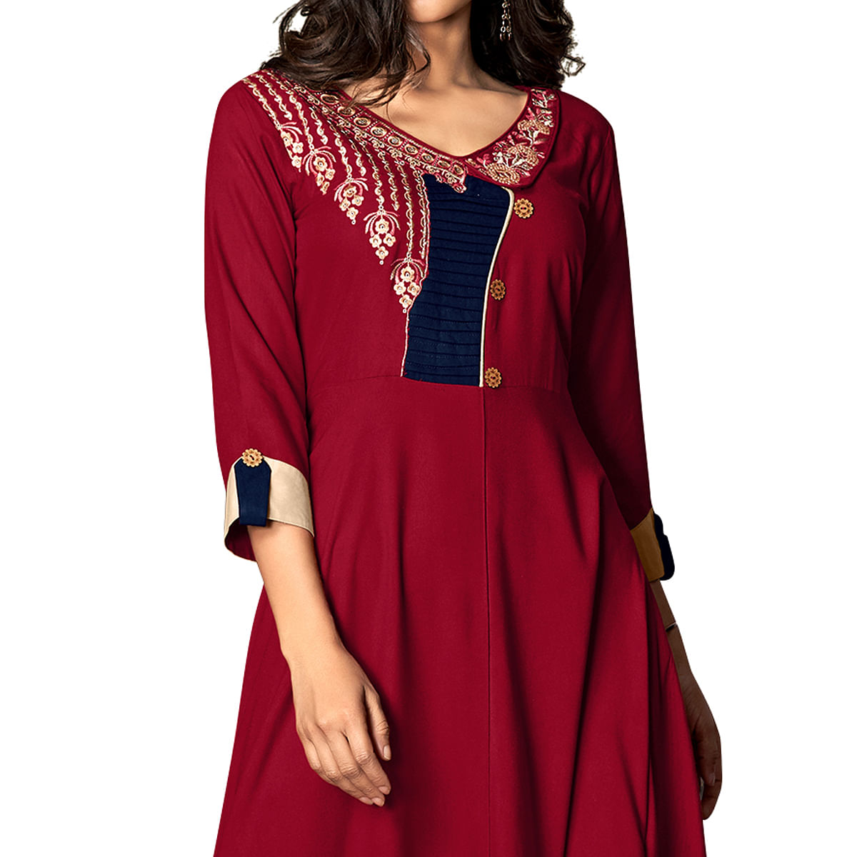 Attractive Red Colored Partywear Embroidered Rayon Kurti