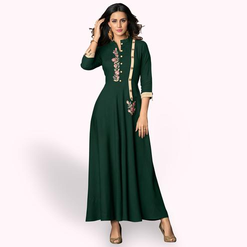 Beautiful Green Colored Partywear Embroidered Rayon Kurti