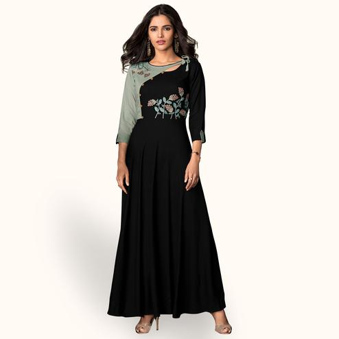 Graceful Black Colored Partywear Embroidered Rayon Kurti