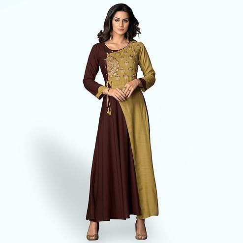 Blooming Brown-Green Colored Partywear Embroidered Rayon Kurti