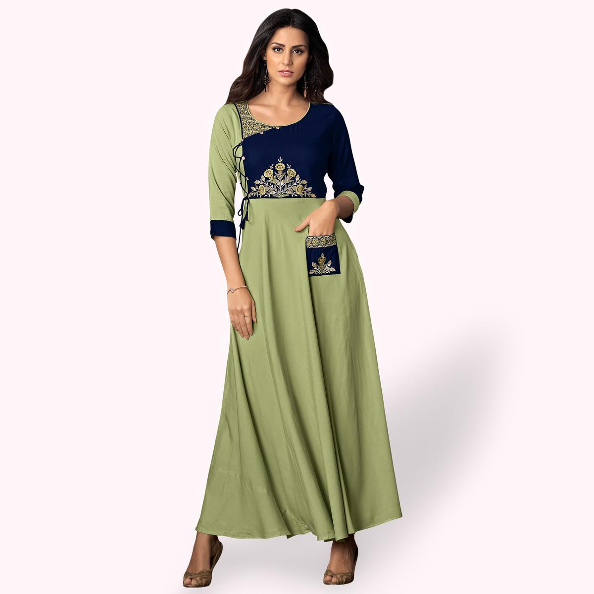 Charming Pale Green-Blue Colored Partywear Embroidered Rayon Kurti