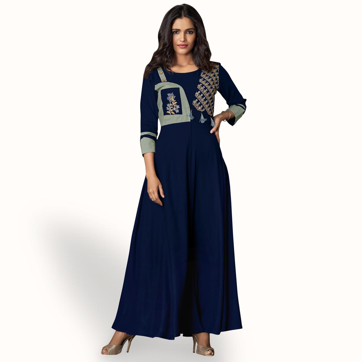 Jazzy Navy Blue Colored Partywear Embroidered Rayon Kurti