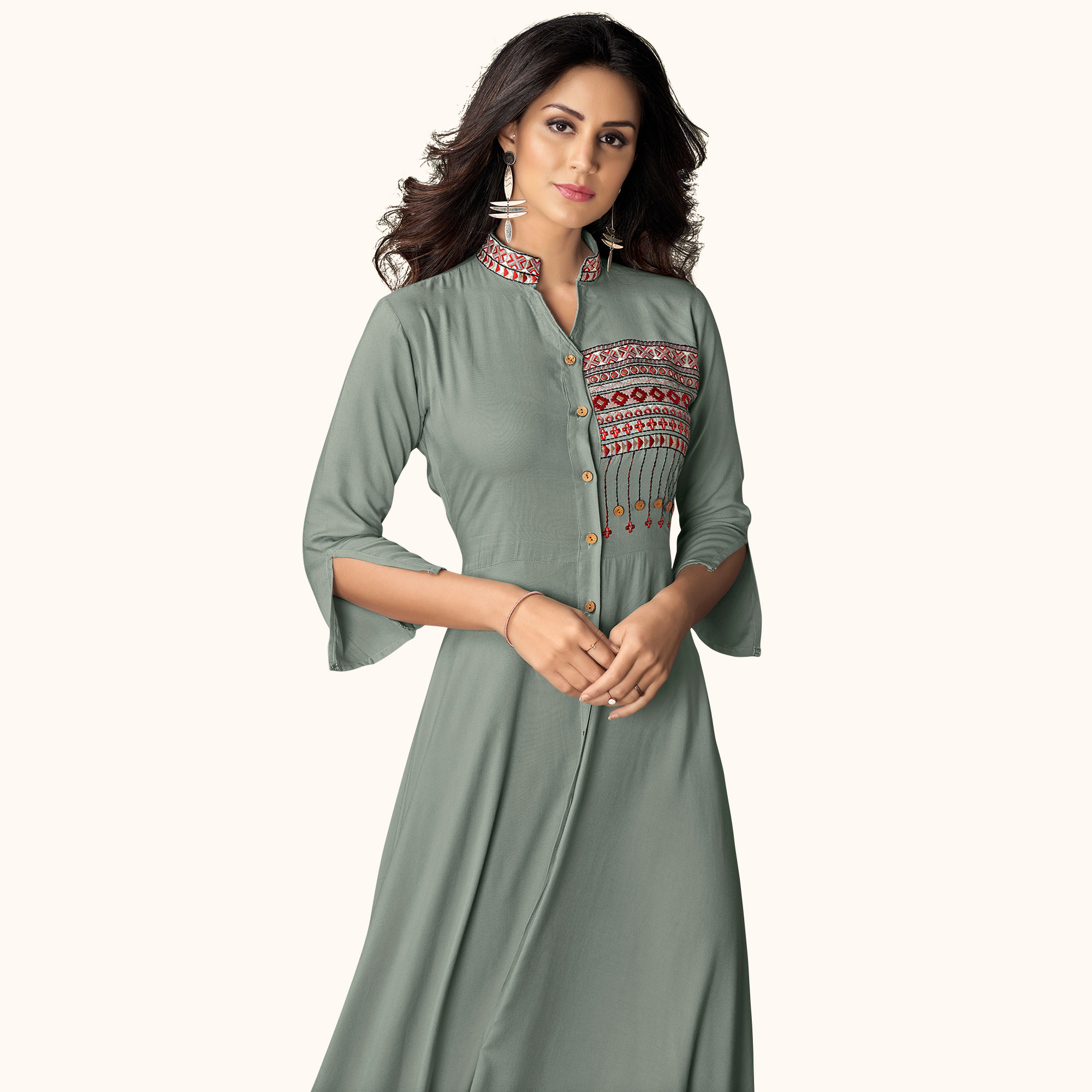 Delightful Gray Colored Partywear Embroidered Rayon Kurti