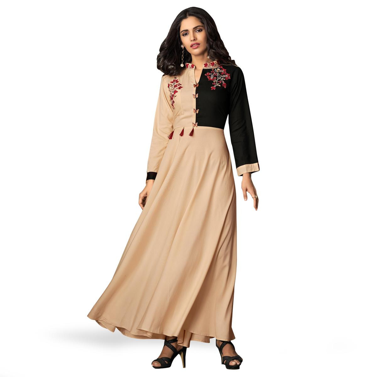 Engrossing Light Peach-Black Colored Partywear Embroidered Rayon Kurti