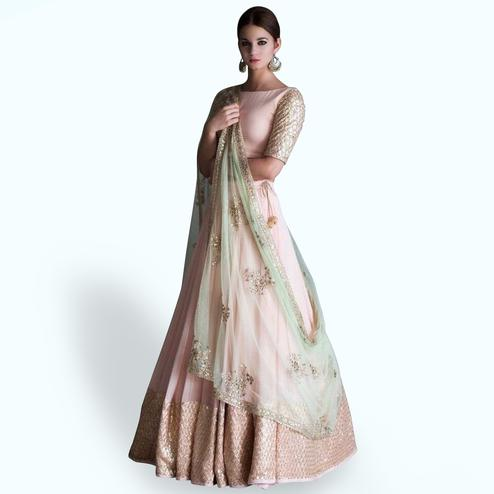 Pastel Pink Colored Party Wear Embroidered Georgette Lehenga Choli