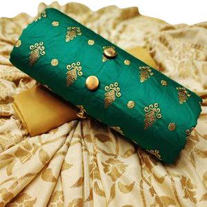 Trendy Green Colored Party Wear Embroidered Cotton Dress Material