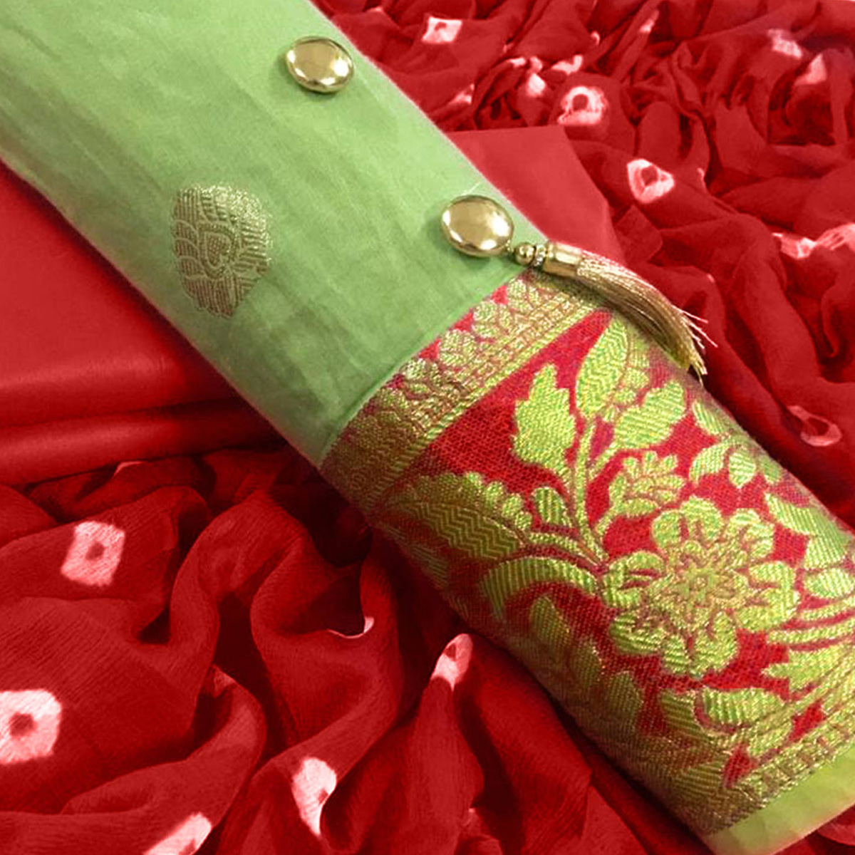 Glowing Green Colored Party Wear Embroidered Banarasi Silk Dress Material