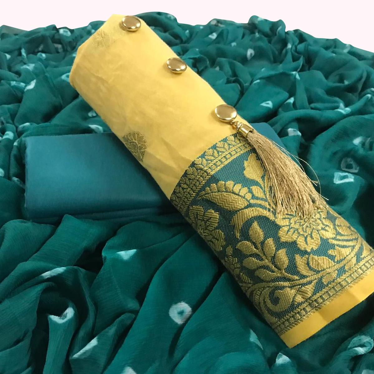 Exceptional Yellow Colored Party Wear Embroidered Banarasi Silk Dress Material
