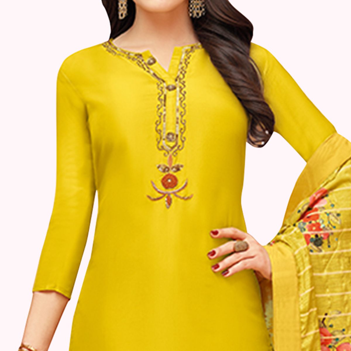 Engrossing Yellow Colored Partywear Embroidered Silk Suit