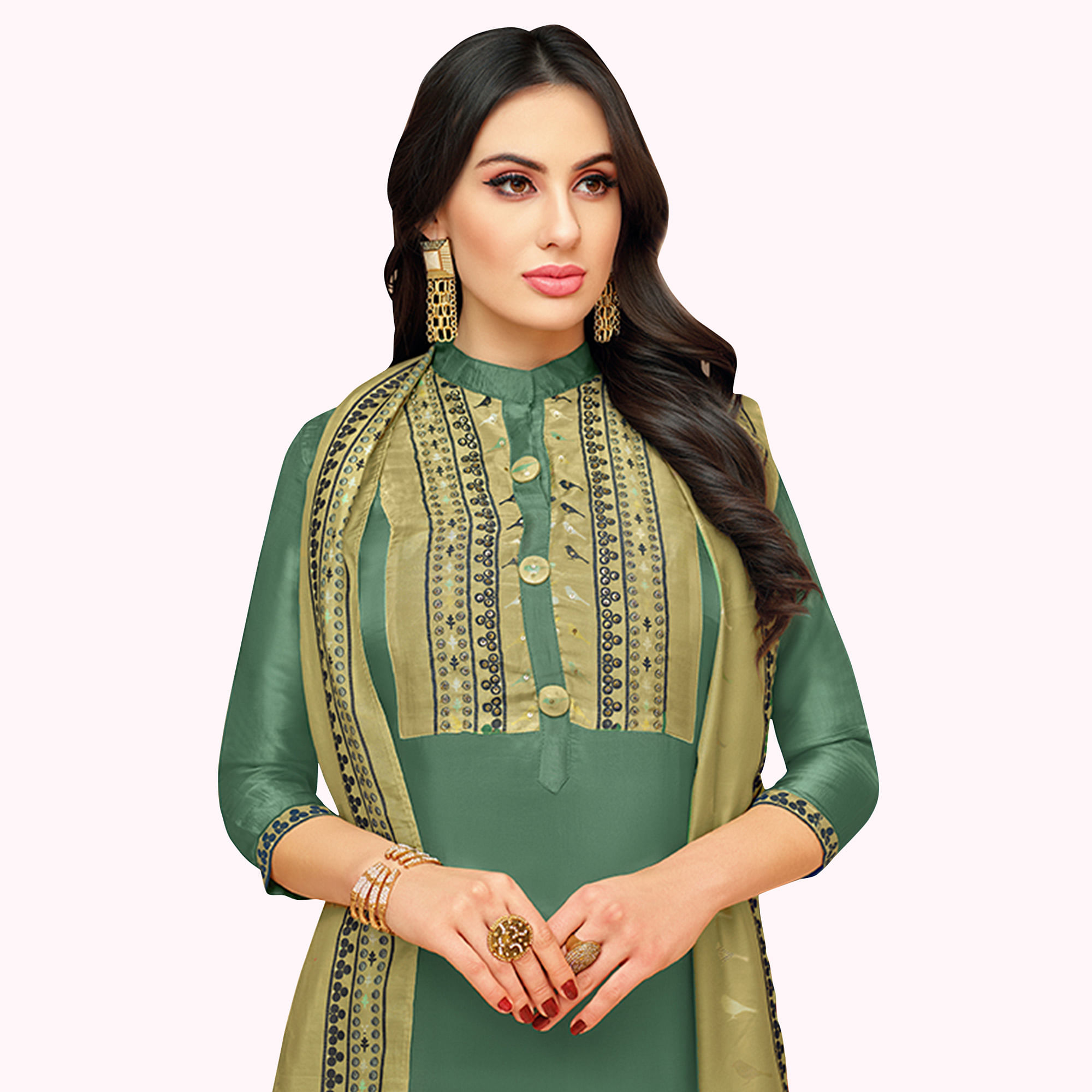 Captivating Green Colored Partywear Embroidered Silk Suit