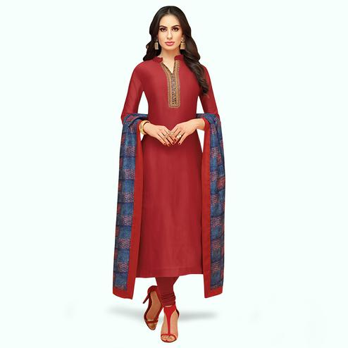 Innovative Red Colored Partywear Embroidered Silk Suit