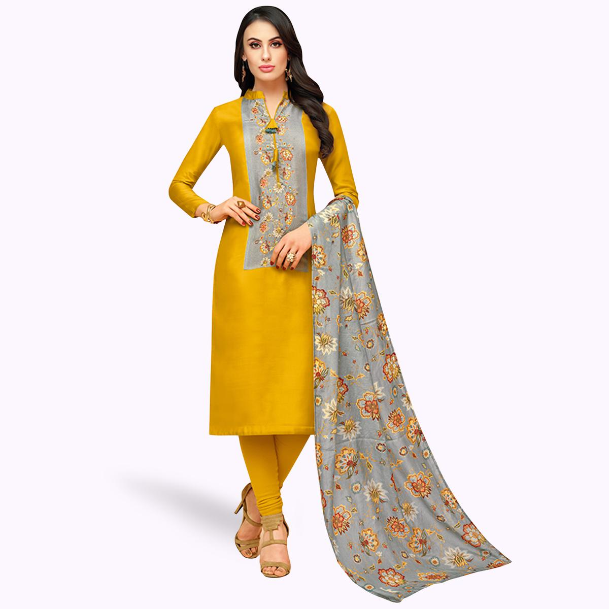 Eye-catching Mustard Yellow Colored Partywear Embroidered Silk Suit