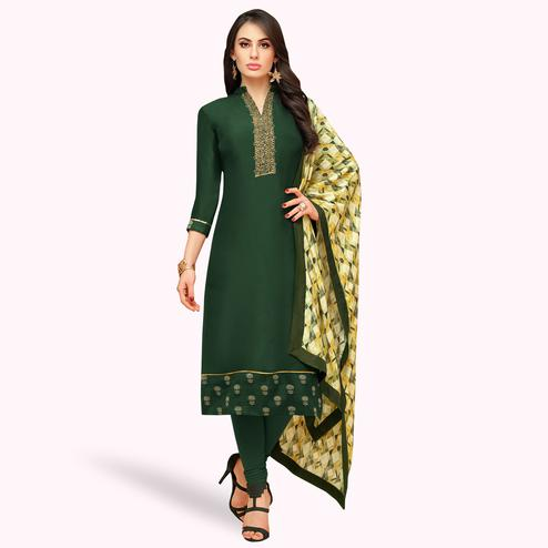 Fantastic Dark Green Colored Partywear Embroidered Silk Suit