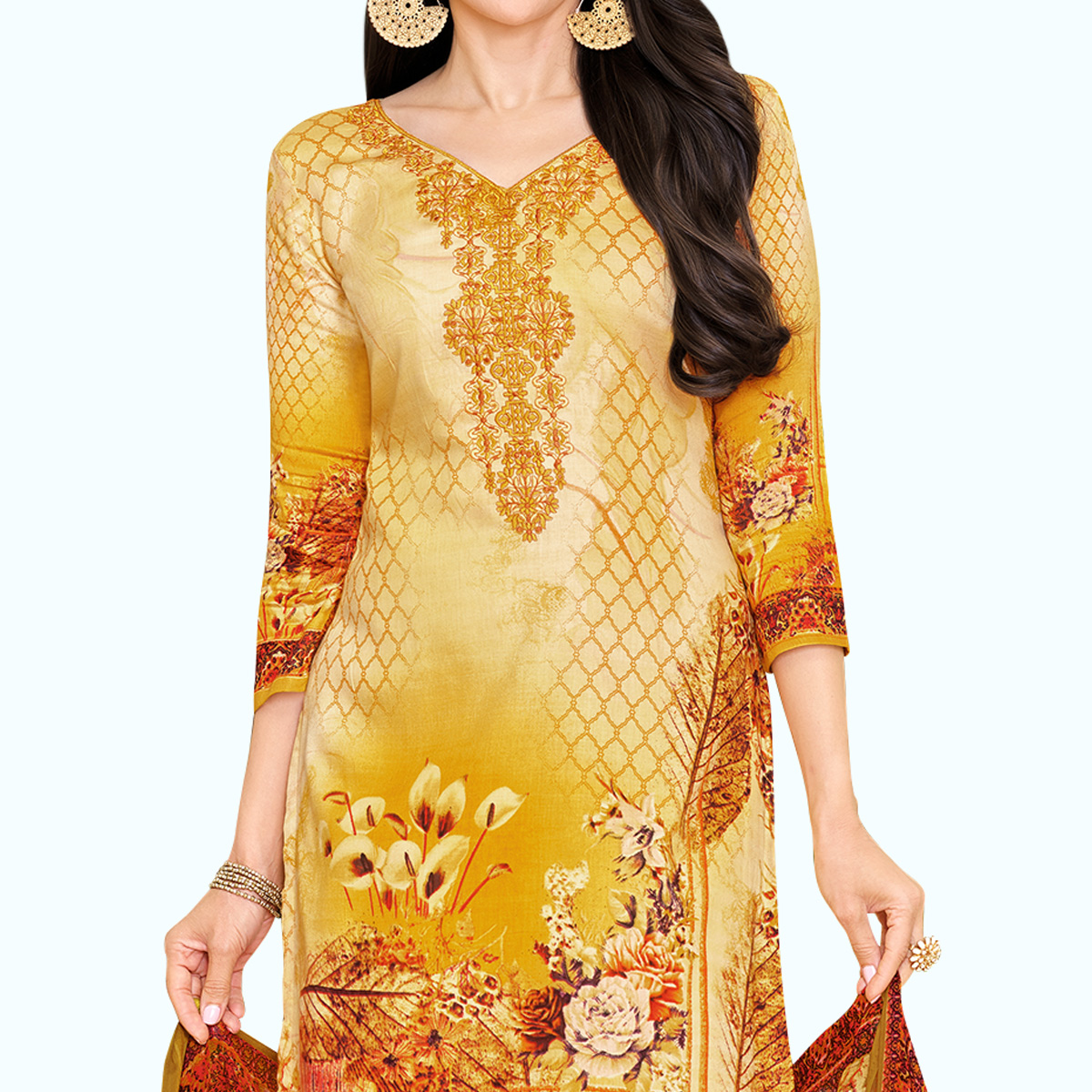 Classy Light Orange Colored Partywear Embroidered-Printed Satin Dress Material