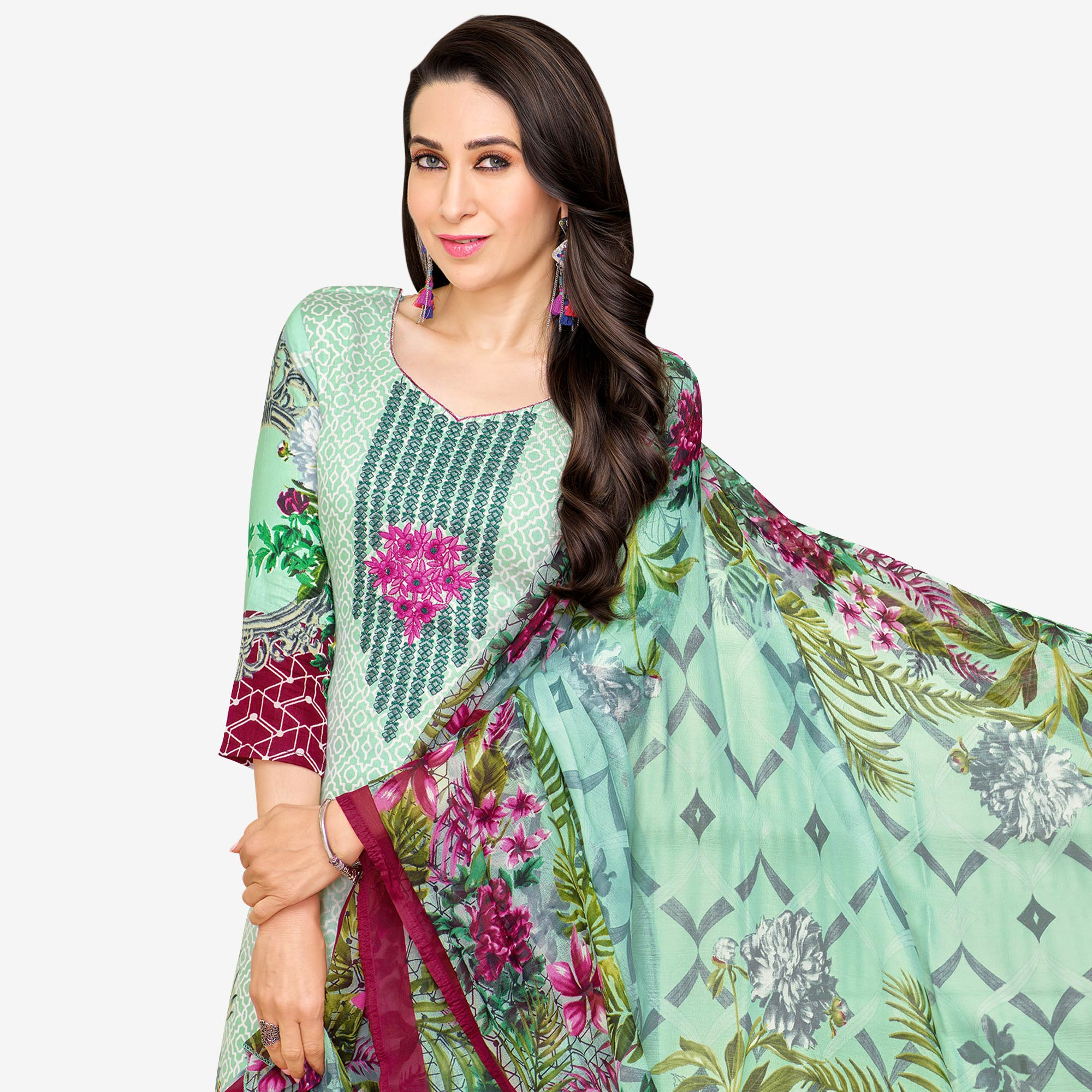 Attractive Pastel Aqua Green Colored Partywear Embroidered-Printed Satin Dress Material