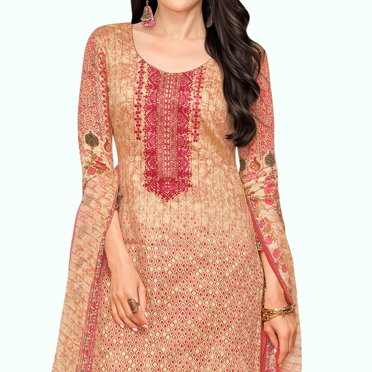 Beautiful Peach Colored Partywear Embroidered-Printed Satin Dress Material