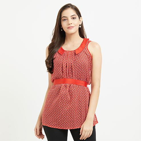 Stylish Red Casual Top