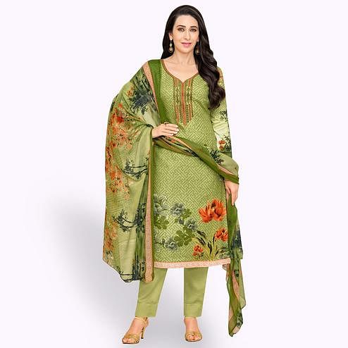Amazing Green Colored Partywear Embroidered-Printed Satin Dress Material