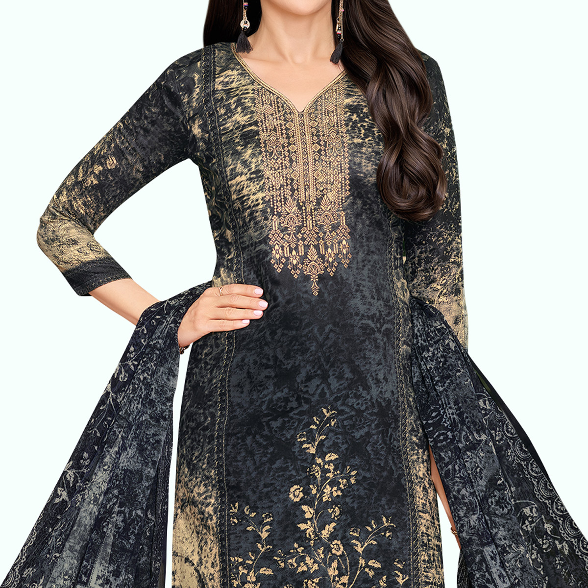 Lovely Blakish Gray Colored Partywear Embroidered-Printed Satin Dress Material
