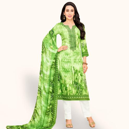 Stunning Light Green Colored Partywear Embroidered-Printed Satin Dress Material