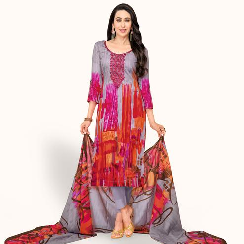 Impressive Light Gray Colored Partywear Embroidered-Printed Satin Dress Material