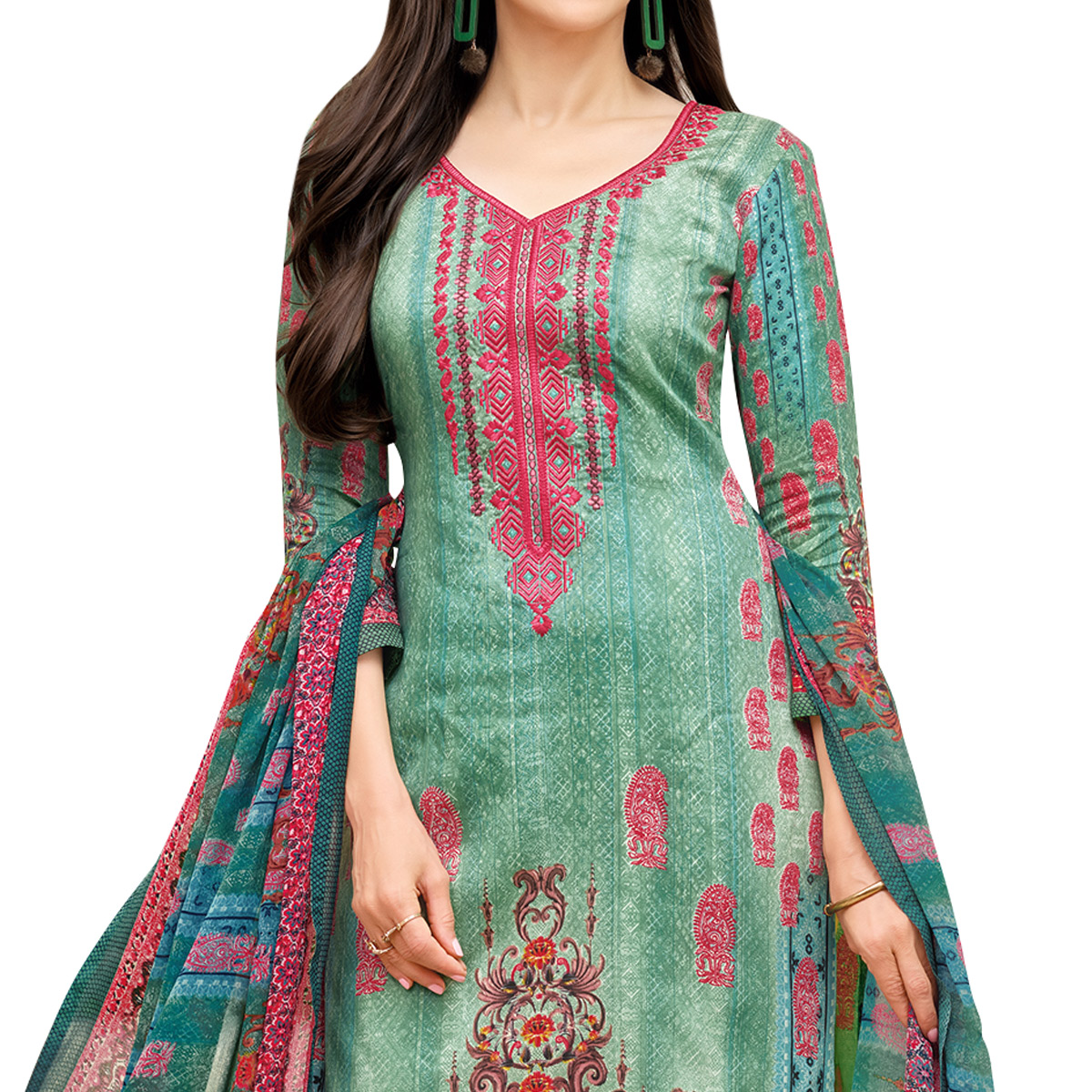 Appealing Green Colored Partywear Embroidered-Printed Satin Dress Material