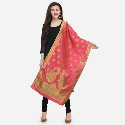 Pretty Pink Colored Festive Wear Jacquard Banarasi Silk Dupatta