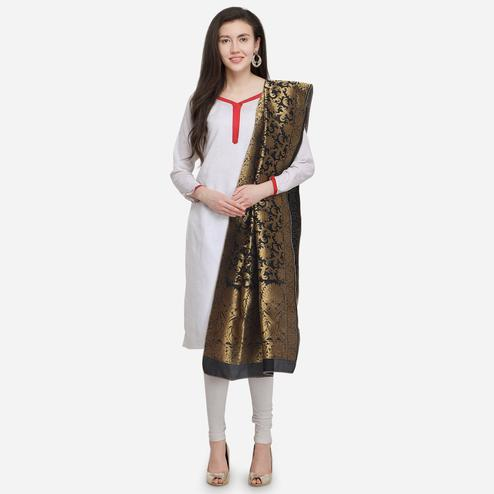 Flaunt Black Colored Festive Wear Jacquard Banarasi Silk Dupatta