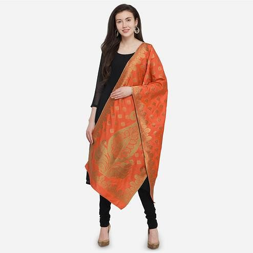 Stunning Orange Colored Festive Wear Jacquard Banarasi Silk Dupatta