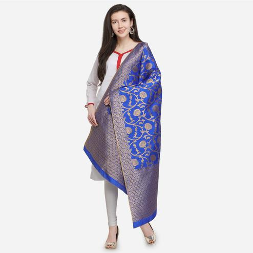 Flirty Blue Colored Festive Wear Jacquard Banarasi Silk Dupatta