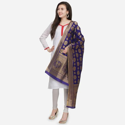 Classy Purple Colored Festive Wear Jacquard Banarasi Silk Dupatta