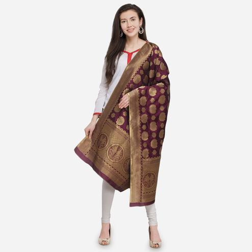 Adorning Wine Colored Festive Wear Jacquard Banarasi Silk Dupatta