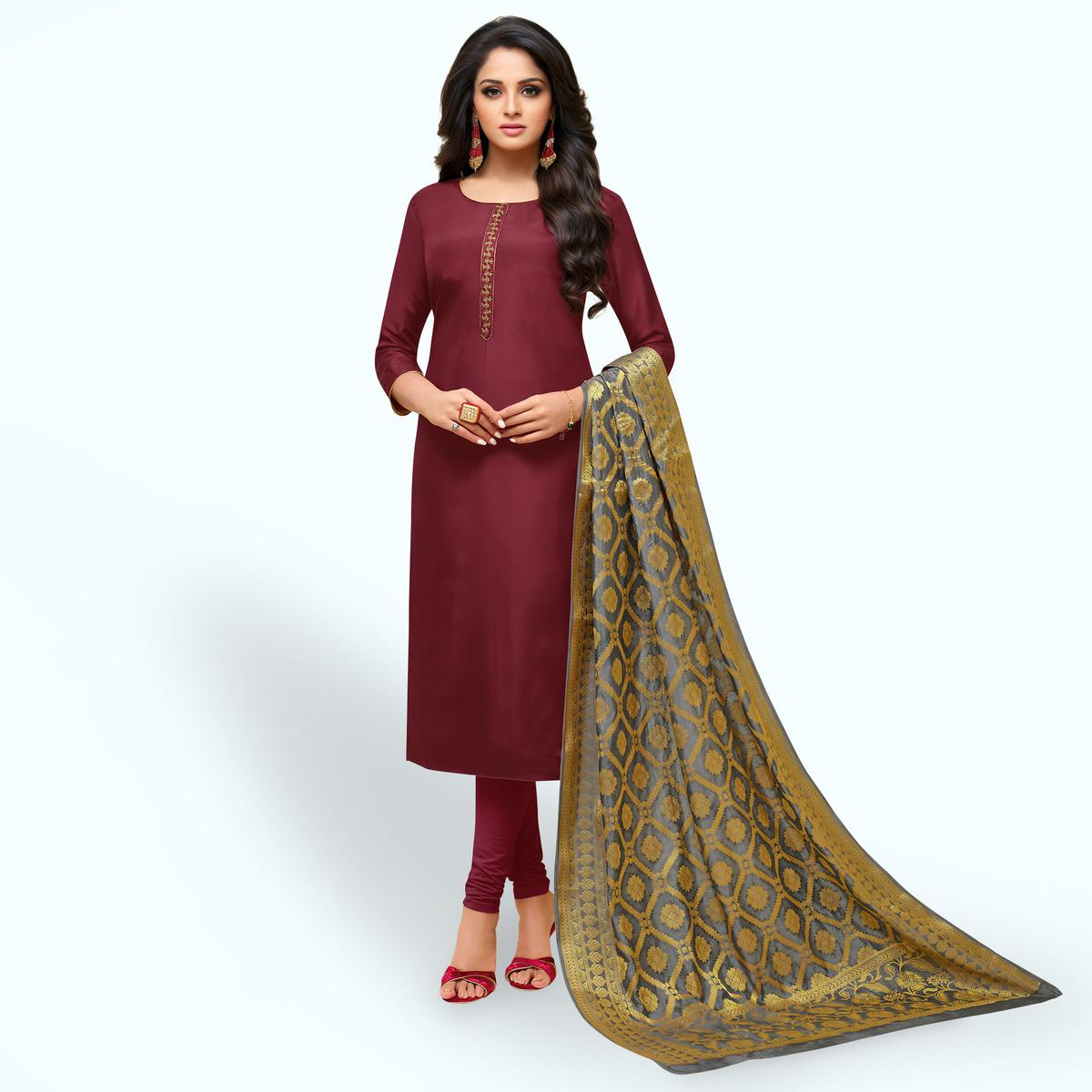 Flamboyant Maroon Colored Partywear Embroidered Silk Suit