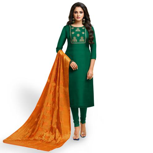 Pretty Dark Green Colored Partywear Embroidered Silk Suit
