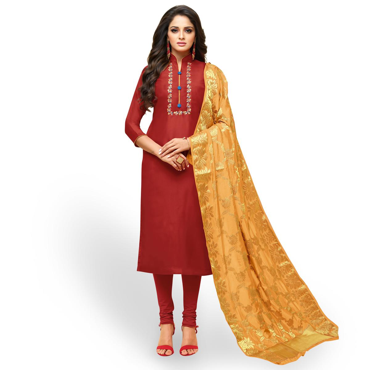 Alluring Coral Red Colored Partywear Embroidered Silk Suit