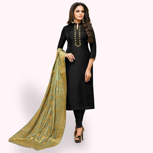 Sensational Black Colored Partywear Embroidered Silk Suit