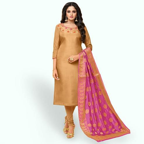 Flaunt Beige Colored Partywear Embroidered Silk Suit