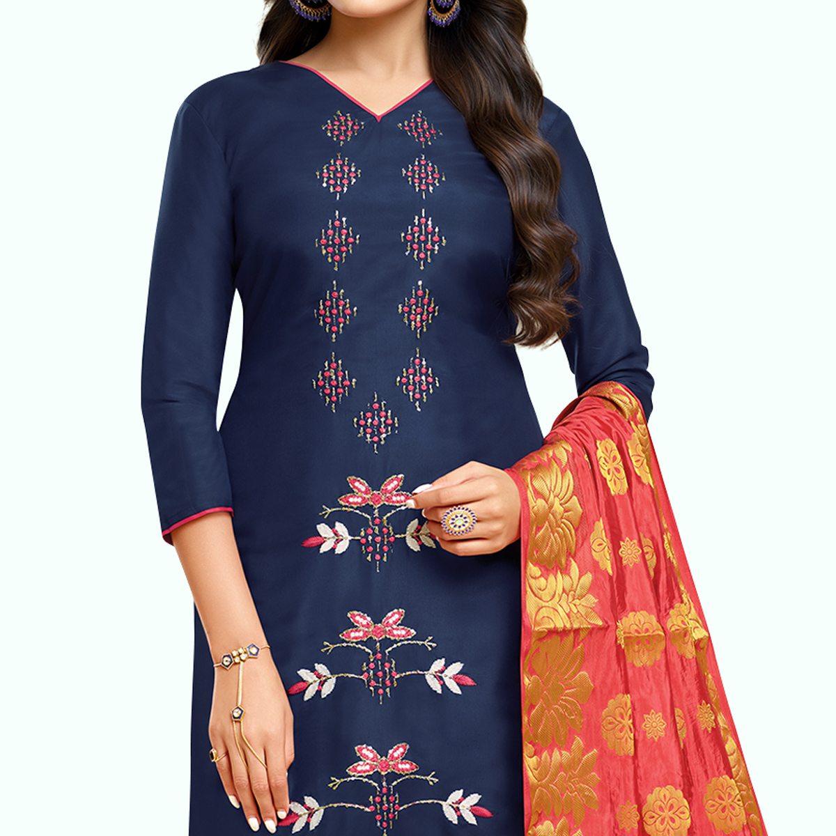 Stunning Navy Blue Colored Partywear Embroidered Silk Suit