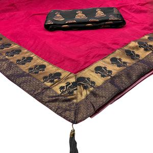Groovy Pink Colored Festive Wear Woven Cotton Silk Saree
