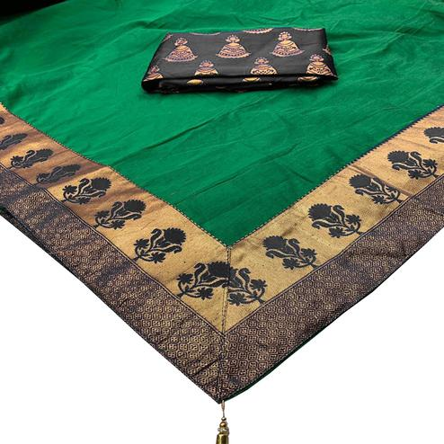 Exotic Green Colored Festive Wear Woven Cotton Silk Saree
