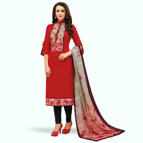 Desirable Red Colored Casual Printed Cotton Suit