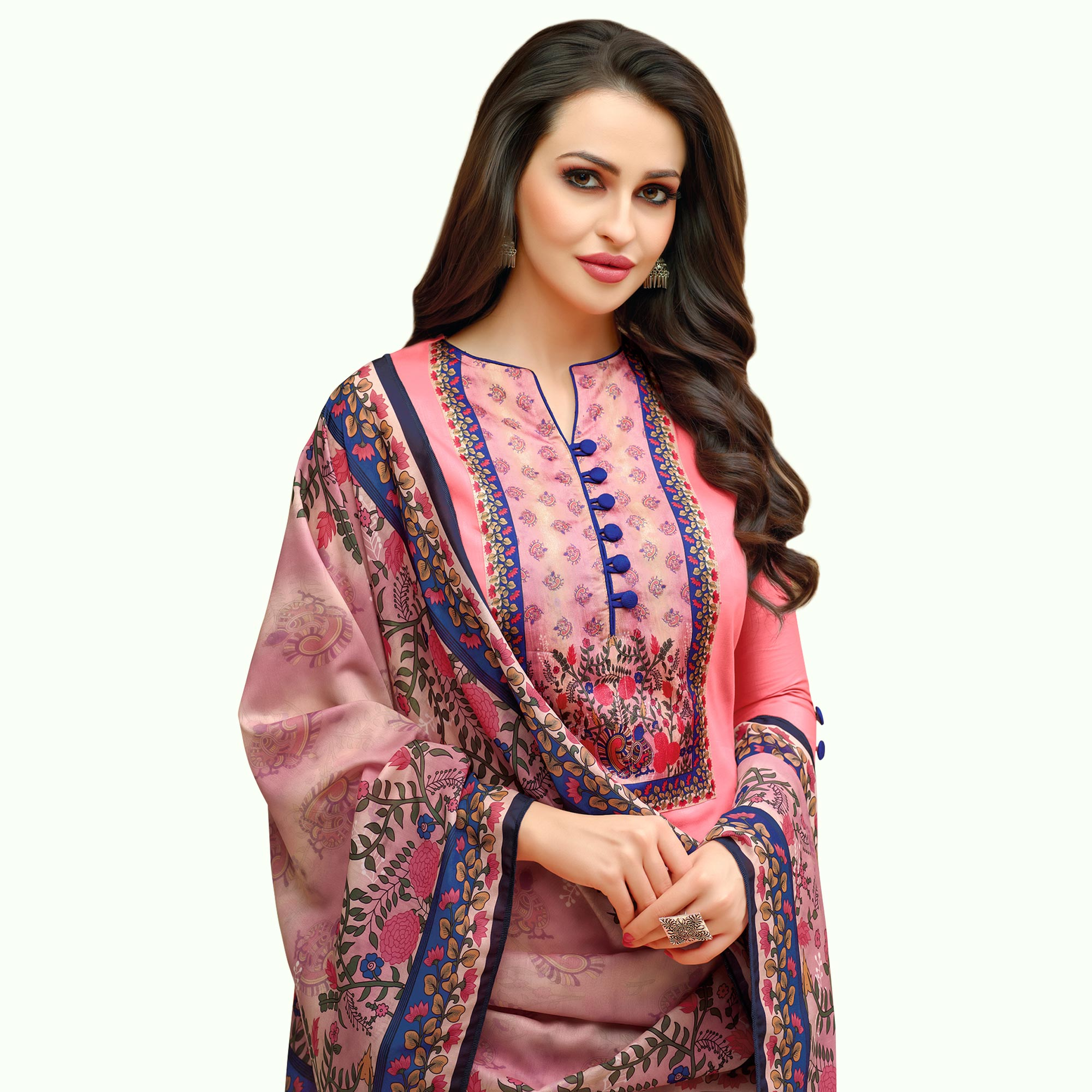 Adorning Pink Colored Casual Printed Cotton Suit