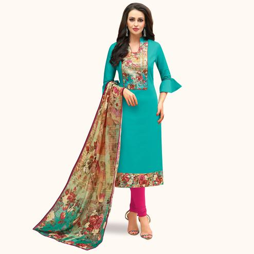 Appealing Sky Blue Colored Casual Printed Cotton Suit
